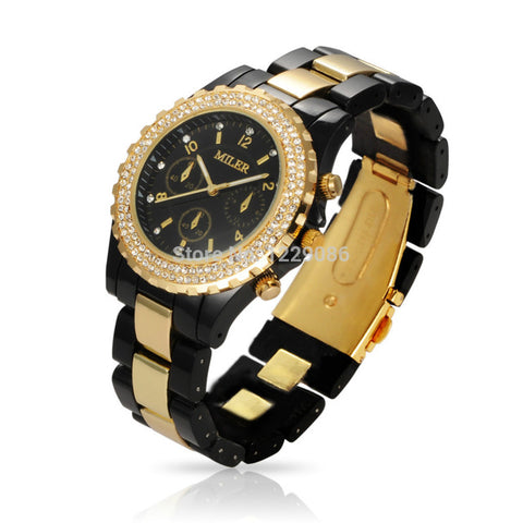 Women Quartz Watches Luxury Brand Rhinestone Wrist Watches Unisex Fashion Casual Clock Hours Relogio Feminino Reloj Black/White - FainWatch