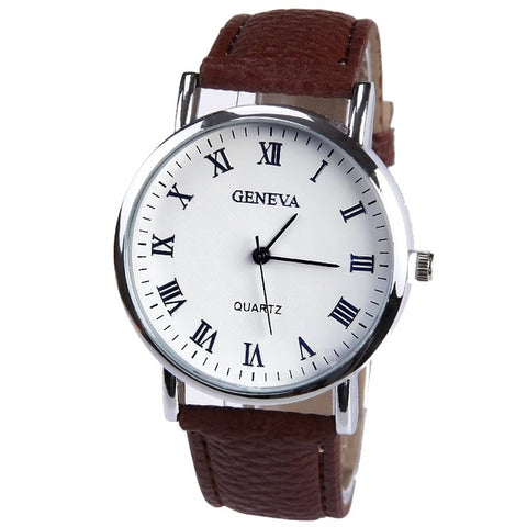 New Elegant Fashion Watch Women Small Roman Numbers Quartz Men Business wristwatch White Face Student watch Geneva Style - FainWatch
