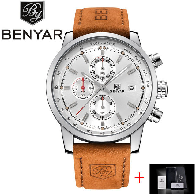 BENYAR Fashion Chronograph Sport Mens Watches Top Brand Luxury Quartz Watch Reloj Hombre 2017 Clock Male hour relogio Masculino - FainWatch