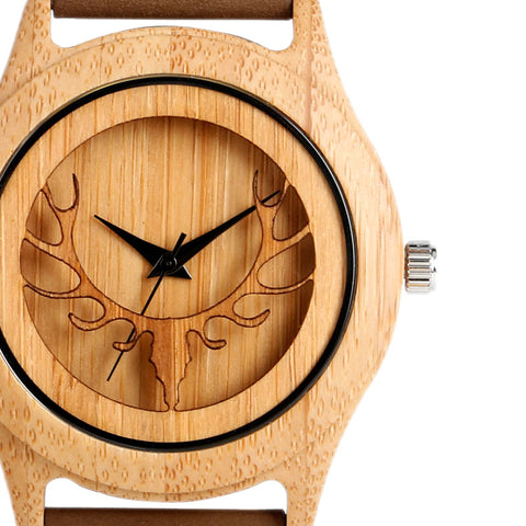 Hot Fashion Elk Deer Head Bamboo Watches Men Women Genuine Leather Strap Sport Casual Nature Wood Creative Male Female Clock - FainWatch