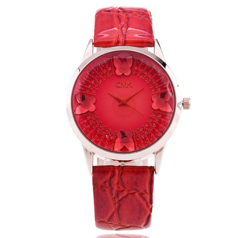 High Quality Brand Luxury Elegant Women Watches Fashion Casual Full Rhinestone Butterfly Quartz Watch Leather strap Wristwatch - FainWatch