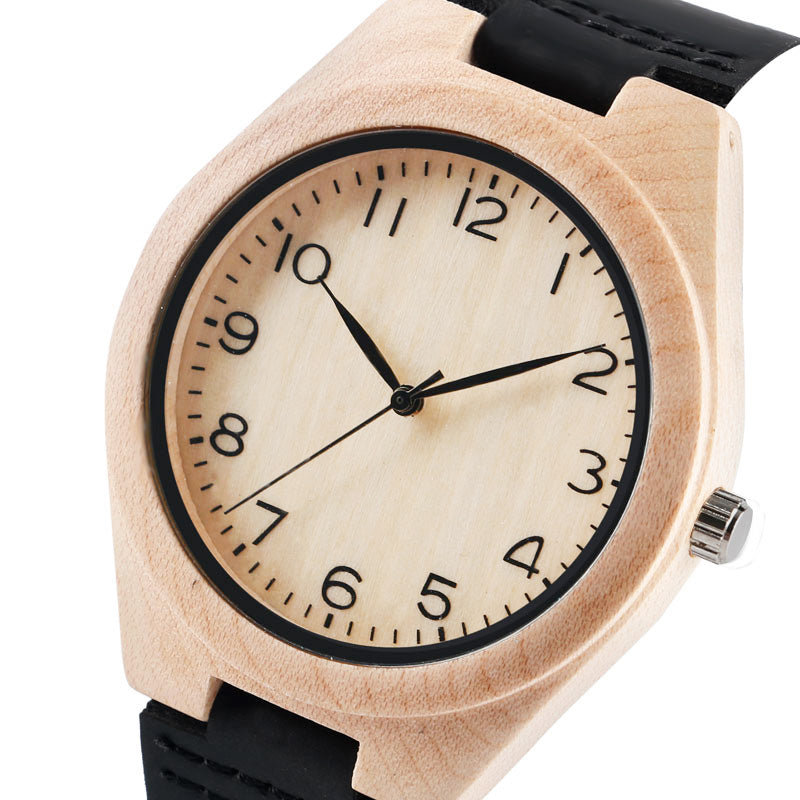 Nature Wood Watch Unisex for Couple Leather Sport Wooden Wristwatch Man Women Minimalist Arabic Numerals Fashion Lover Gifts - FainWatch