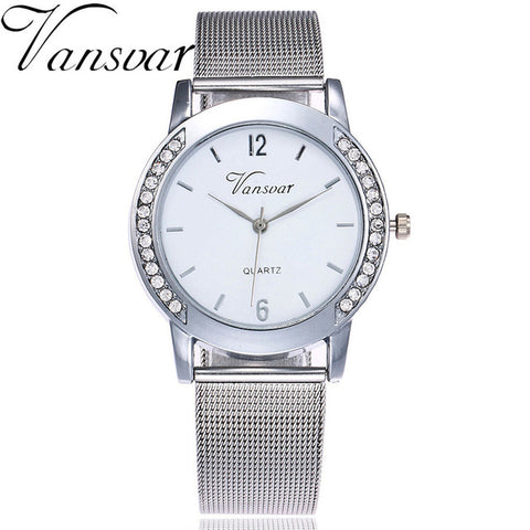 Vansvar Brand Fashion Gold Mesh Quartz Watch Women Metal Stainless Steel Dress Watches Relogio Feminino Gift Clock 1887 - FainWatch
