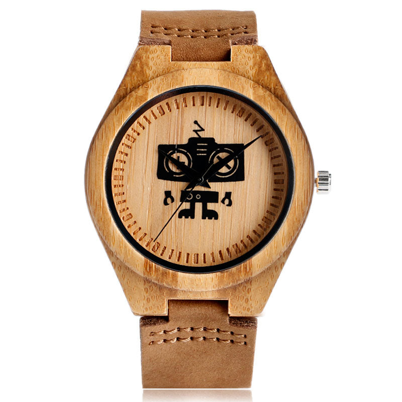 New Cute Cool Robert Pattern Bamboo Wooden Wristwatches Simple Dial Genuine Leather Wood Boy's Watch Unisex Christmas Gifts - FainWatch