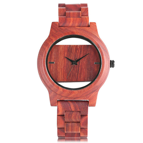Luxury Top Brand Full Wooden Watches Handmade Nature Wood Hollow Wrist Watch Women Men Fold Clasp Creative Casual Bamboo Gifts - FainWatch