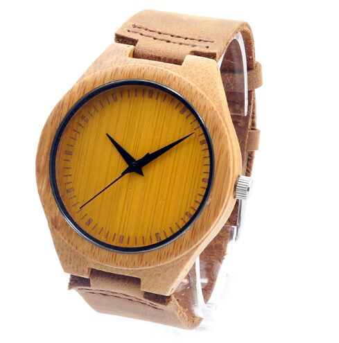 BOBO BIRD 2016 New Colorful Natural Bamboo Wood Men Watches With Real Leather Strap Relogio Masculino In Gift Box - FainWatch