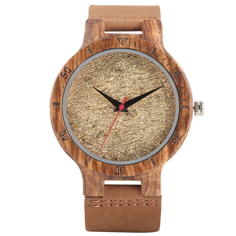 Stylish Wooden Watch Luxury Wrinkled Gold Foil Dial Unisex Nature Bamboo Wristwatch Modern Men Women Clock horloge mannen saat - FainWatch