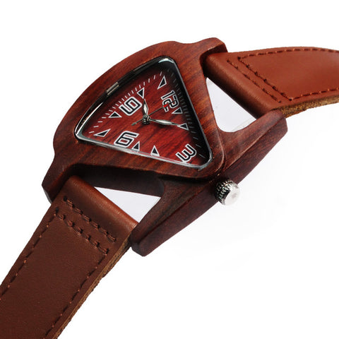 Retro Unisex Fashion Womens Mens Skeleton Wooden Watch Genuine Leather Lovers Wristwatch Triangle Wood Quartz Watches Horloges - FainWatch