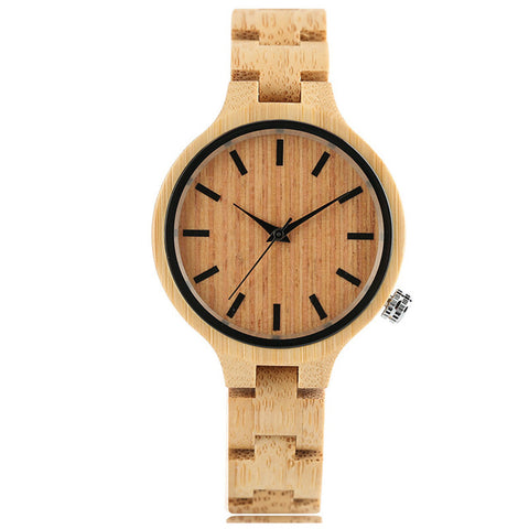 Full Wooden Watch Simple Creative Women Quartz Bracelet Dress Wrist Watch Nature Wood Bamboo Handmade Gift relogio feminino - FainWatch