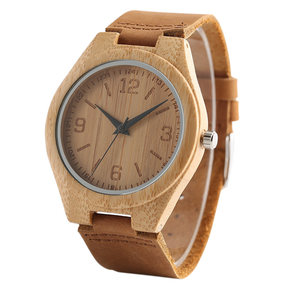 2017 New Handmade Bamboo Wooden Watch Men Women Genuine Leather Wrist Quarzt Watches Nature Wood Clock Bangle eloj de madera - FainWatch
