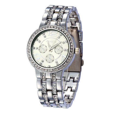 Hot Sale Luxury Geneva Brand Crystal watch women ladies men fashion dress quartz wrist watch relogio feminino with date - FainWatch