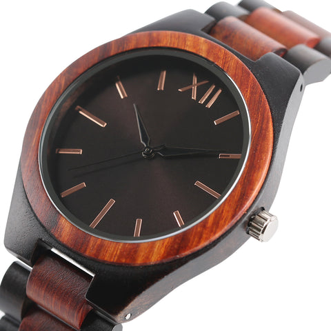 Dark Brown/Sapphire Blue Face Dial Watches Full Wooden Women Analog Wrist Watch Men Nature Wood Creative Clock 2017 New Gift - FainWatch