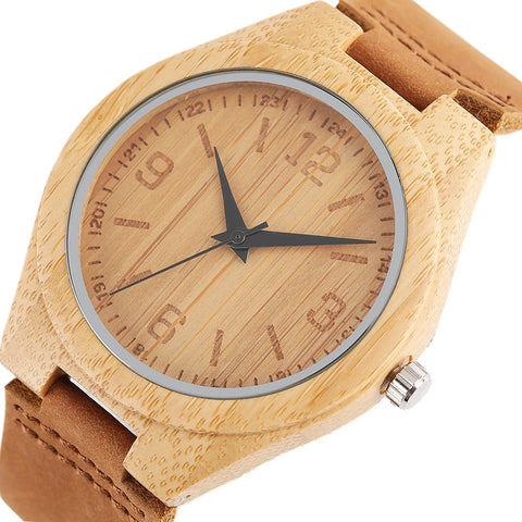 2017 New Genuine Leather Bamboo Wooden Watch Men's Women's Wrist Quarzt Watch Nature  Bamboo Clock Top Bangle eloj de madera - FainWatch