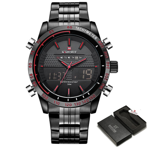 Top Luxury Brand NAVIFORCE Fashion Men Sports Watches Men's Quartz Analog Clock Man Full Steel Wrist Watch Relogio Masculino - FainWatch