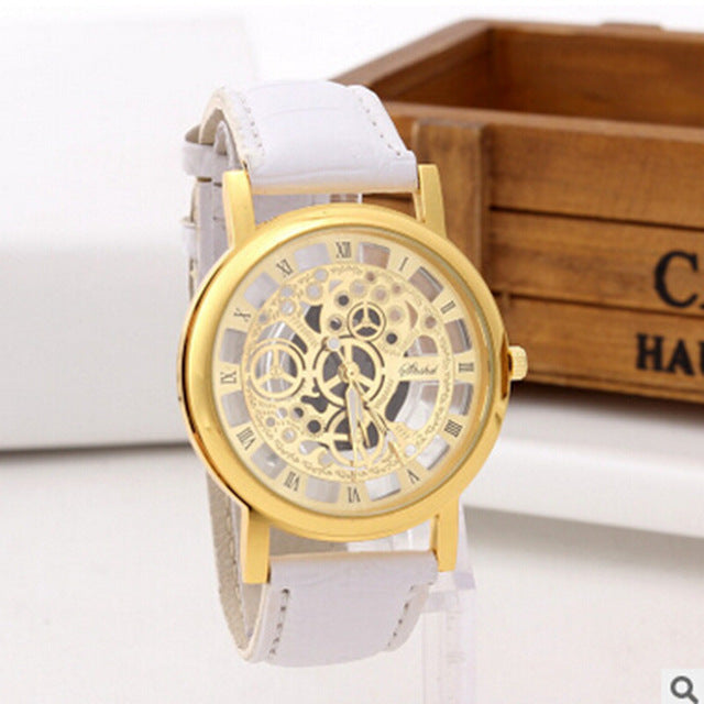 FUNIQUE Brand Hollow Men's Gold Watch Hour Fashion Male Quartz Watch  Luxury Brand Watch Leather Clock Wristwatches Montre Homme - FainWatch