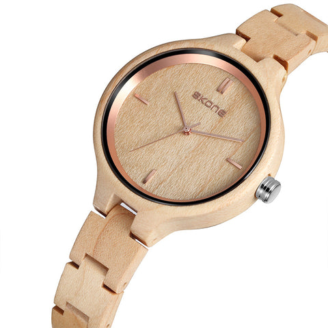 Skone Women's Wood Watches Top Brand Designer Environmentally Friendly Quartz Clock Ladies Dress Wooden Watch reloj mujer - FainWatch