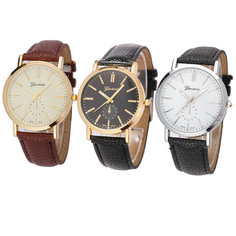 2017 Hot Sale Male Watch PU Leather Alloy Man Watch Fashion Stainless Steel Unisex Band Analog Quartz Business Wrist Watch#77 - FainWatch