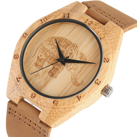 Handmade Wooden Watches Exquisite Thailand Elephant Engraving Bamboo Unisex Sports Quartz Wristwatch Man's Women's Clock Gifts - FainWatch