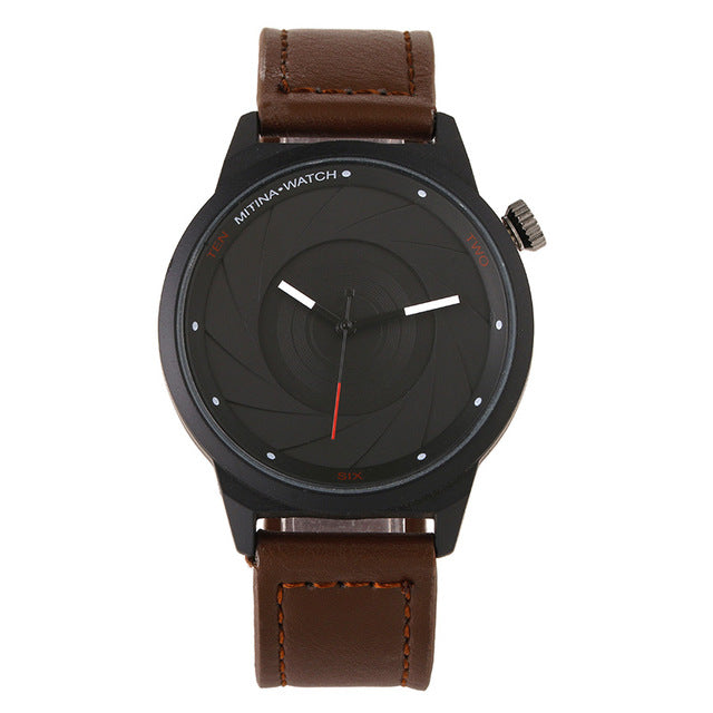 New Design camera lens dial Genuine Leather BGG Luxury Brand Casual Men's Watches Male Fashion Army Style Quartz Wristwatches - FainWatch