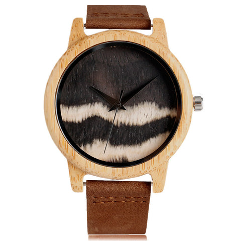 Fashion Black&White Wooden Watch Stylish Wave Pattern Dial Nature Wood Grain Case Simple Men Women Wristwatch Unisex Clock Saat - FainWatch