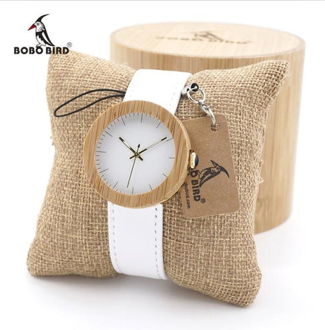BOBO BIRD New Arrival Top Brand Design Wood Watches for Womens Leather Band Ladies Gold Wrist Watch quartz clock in wood box - FainWatch
