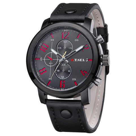 O.T.Sea Fashion Mens Watch Brand Luxury Leather Simple Casual Sport Wrist Watch For Men Male Military Hand Clock Reloj Hombre - FainWatch