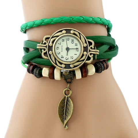 Gnova Platinum Classic Genuine Leather Bracelet Watch Women Vintage Watch Korean Fashion LEAF wristwatch Girls Gift - FainWatch