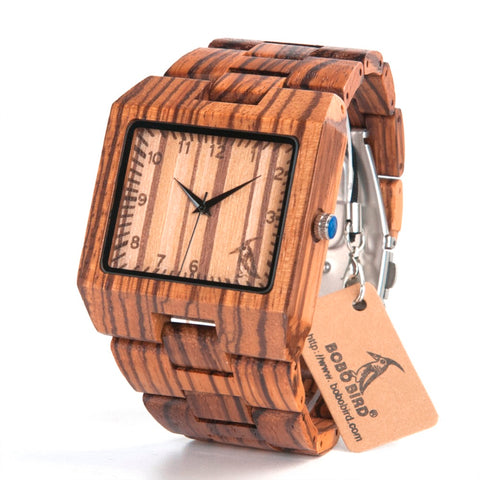BOBO BIRD CdL24 Men Oblong Shape Zebra Stripe Wooden Watches with BOBO BIRD Pattern on the Dial Face Uomo Orologio in Bamboo Box - FainWatch