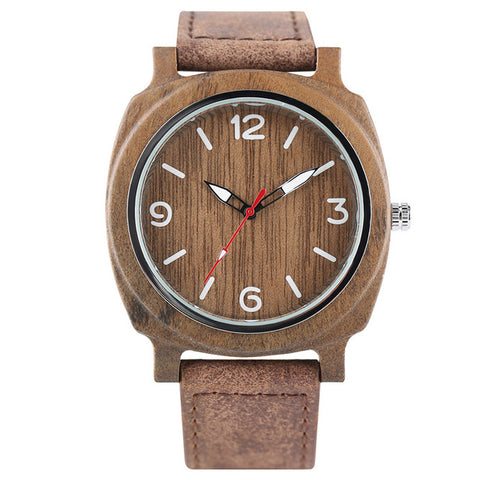 Wood Watches Quartz for Men and Women Fashion Square Case Man's Woman's Unisex Couple Leather Watch Wooden Bamboo Wristwatches - FainWatch