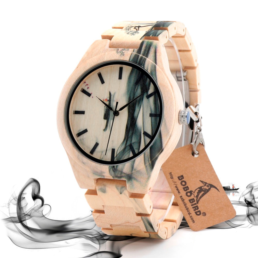 BOBO BIRD LO17 Misty Landscape Painting Designer on Maple Wooden Men's Watches Accept Drop Ship Customize - FainWatch