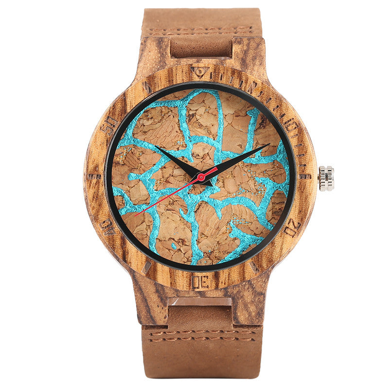 Fashion Men Women Wooden Watch Cool Hit Color Cracks Dial Stylish Teens Students Wood Quartz Watch Trendy Unisex Bamboo Clocks - FainWatch