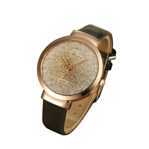 VIVET Fashion Women Leather Casual Watch Luxury Analog Quartz Crystal Wristwatch relojes hombre Vintage Relogio Feminino Masculi - FainWatch