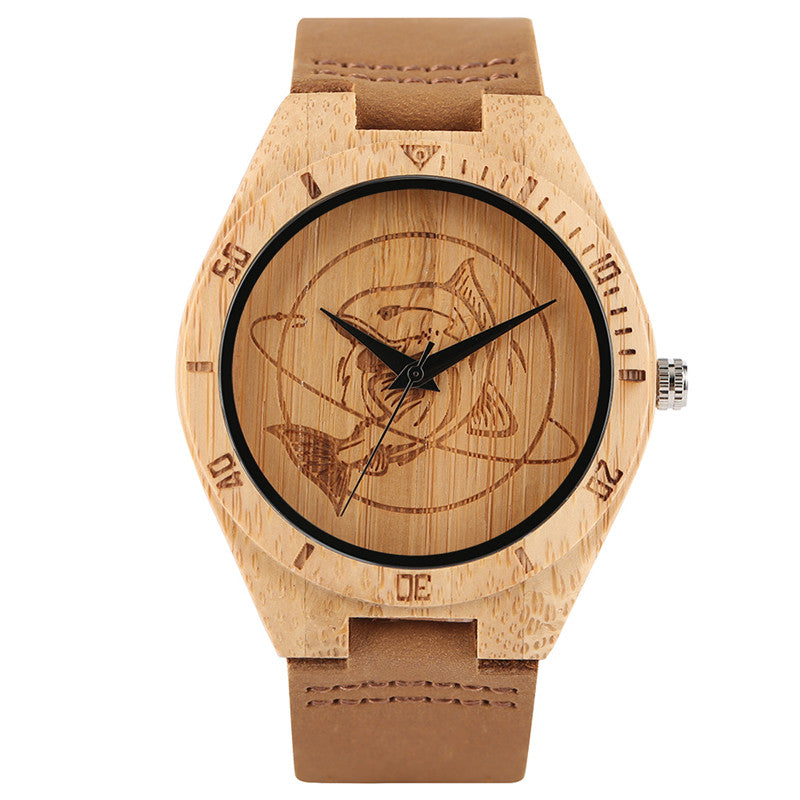 2017 New Arrival Unisex Bamboo Watch Funny Big Fish Carving Dial Analog Casual Men Women Wood Wristwatches Simple Wooden Clock - FainWatch