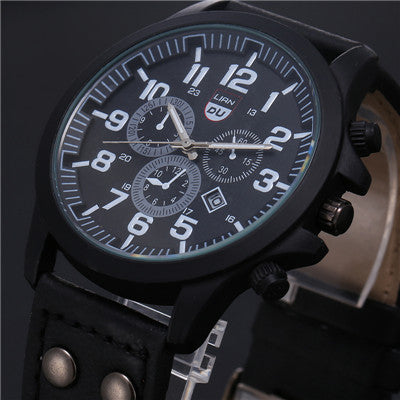 2017 New Business Quartz watch Men sport Military Watches Men Corium Leather Strap army wristwatch clock hours Complete Calendar - FainWatch