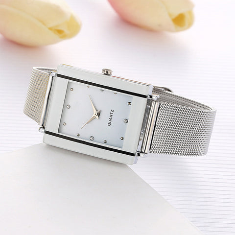 Business Mesh Strap Women Watch Quartz Watches Slim Wristwatches Fashion Casual Quartz Rectangle Clock Rhinestone Girl Alloy - FainWatch