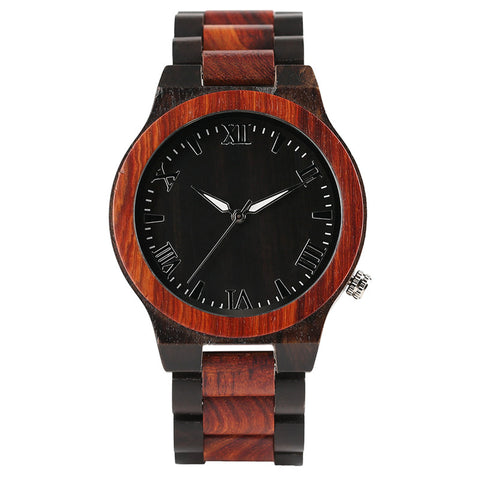 Modern Whole Wood Watch Nature Double Color Sandalwood Case Bangle Classic Men Wooden Quartz Wristwatch Unisex Clock Luxury Gift - FainWatch