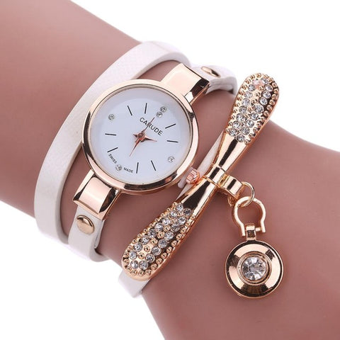 Women Watches Fashion Casual Bracelet Watch Women Relogio Leather Rhinestone Analog Quartz Watch Clock Female Montre Femme - FainWatch