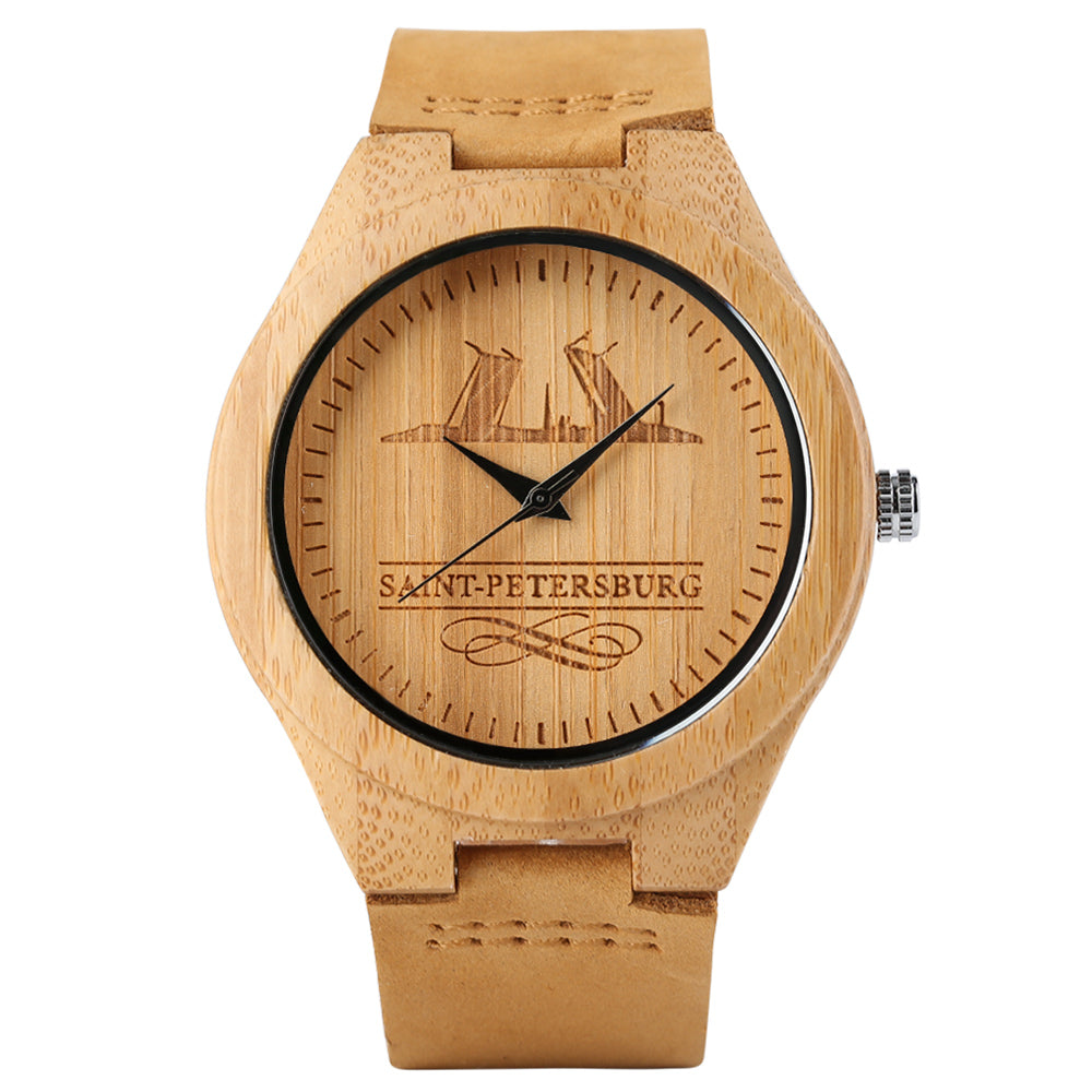 Unique Russia City Saint Petersburg Design Wooden Watch Modern Men Women Wood Wristwatch Souvenior Handmade Bamboo Unisex Clocks - FainWatch