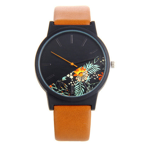 Bgg New Country style Leather Women Quartz Watches 2017 Luxury Top Brand Floral Pattern ladies Casual Watch female dress Clock - FainWatch
