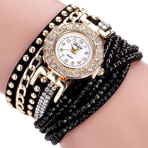 Duoya Fashion Watch Women Luxury Gold Crystal Bracelet Dress Watches Ladies Vintage Business Quartz Wristwatches Dropshipping - FainWatch