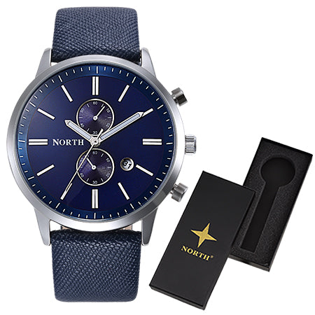 NORTH Luxury Quartz Men Watches 30M Waterproof Male Business Wristwatch Fashion Casual Genuine Leather Strap Men's Dress Watch - FainWatch