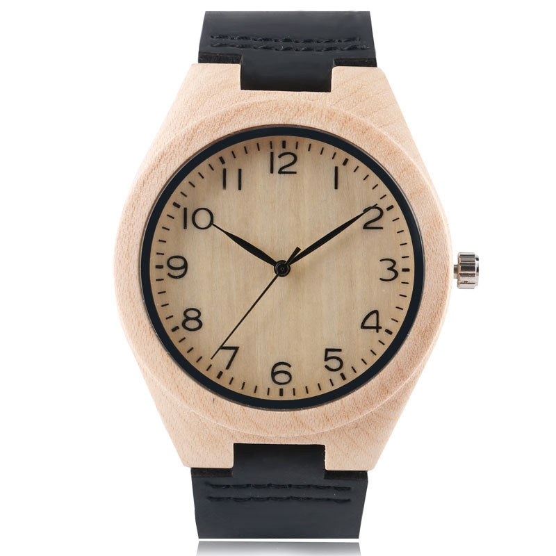 Wood Watch Unisex Couple Quartz Wristwatch Leather Bamboo Handmade Nature Wooden Minimalist Arabic Numerals Sport Casual Clock - FainWatch