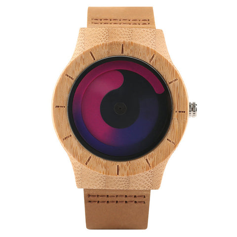 Blue Turntable Men's Bamboo Wooden Wrist Watch Women Unisex Quartz Novel Wood Clock Genuine Leather Band Strap Watch Gift - FainWatch