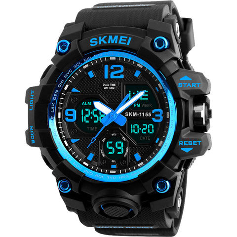 SKMEI Men Quartz Analog Watch Top Brand Luxury Man LED Big Dial Electronic Wristwatch 50M Waterpoof Hour Sport Relogio Masculino - FainWatch