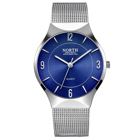 Luxury North Brand Watch Men Blue Silver Stainless Steel Casual Men's Wristwatch Simple Minimalism Thin Slim Dial Male Clock - FainWatch