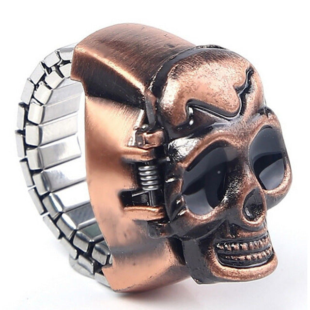 Relogio masculino Fashion Unisex Retro Vintage Finger Skull Ring Watch Clamshell Watch wholesale Hot Marketing Mar23 - FainWatch