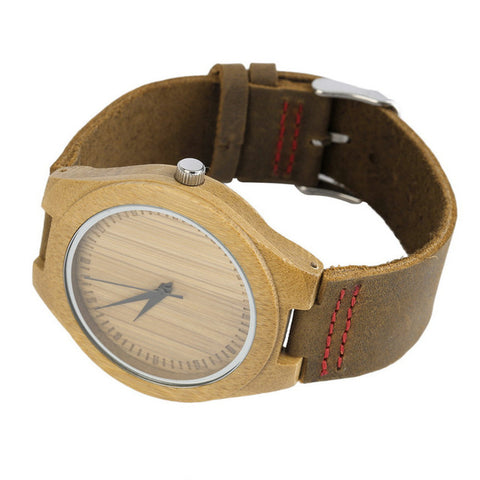 OUTAD 1PC  Genuine Leather Band Fashion Men's Watches Bamboo Wood Watch Unisex Saat - FainWatch