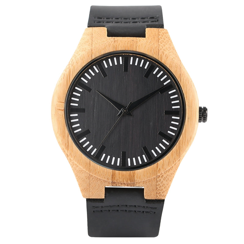Concise Men Women Bamboo Watch Cool Hit Color Dial Analog Casual Unisex Wood Quartz Wristwatch Vintage Male Female Wooden Clocks - FainWatch