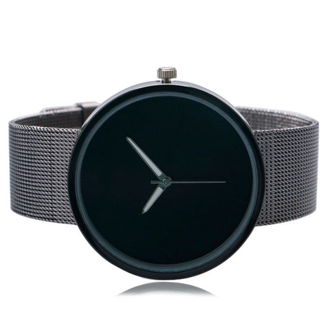 Simple Fashion Wrist Watch Men quartz-watch Women Unique Black Dial Quartz Mesh Stainless Steel Band Strap Ladies Unisex - FainWatch