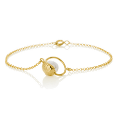 SAND bracelet with Swarovski pearl in 18k gold-plated sterling silver